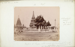 Pagoda at Pagan with model of the Mahabodhi